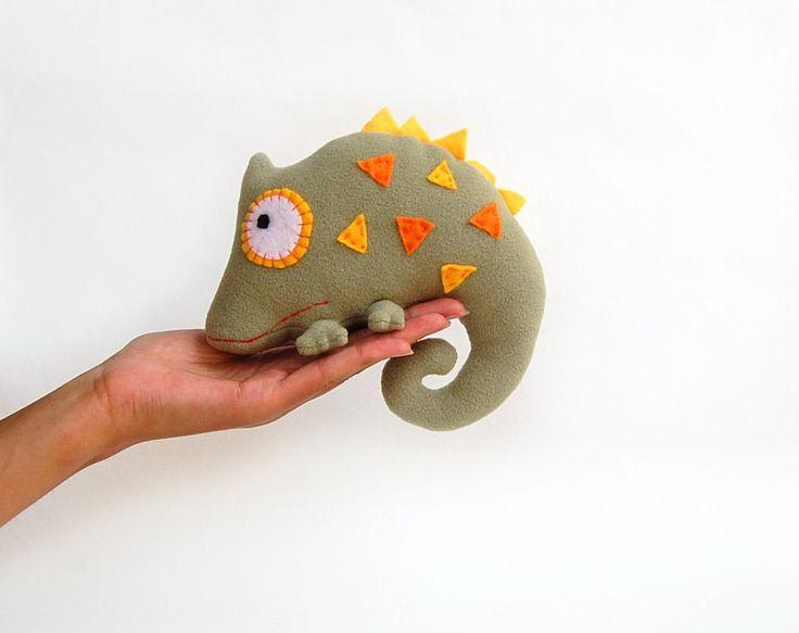 Chameleon soft toy for kids khaki green woodland creatures. $24.00, via Etsy.