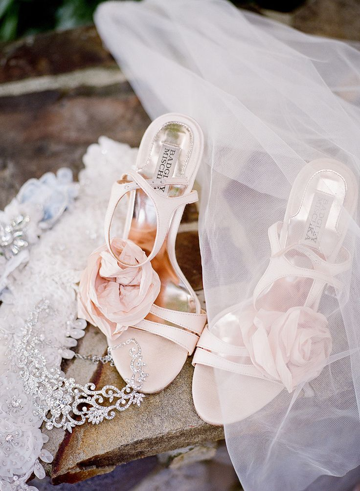 Pink peach wedding shoes by Badgley Mischka   Fine Art Film Wedding Photography based in Texas - Krystle Akin Photography