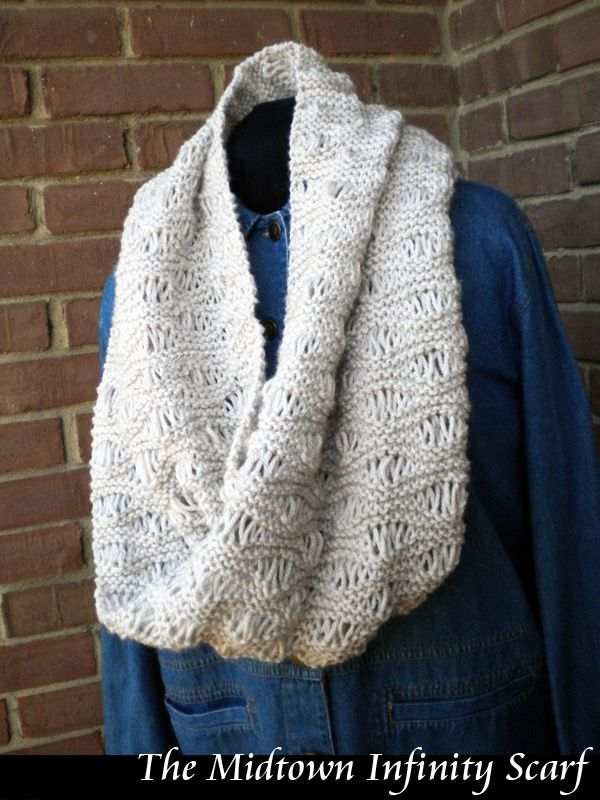 Midtown Infinity Scarf Knitting Pattern Knit-Purl-Knit - Scarves, Infinity ...