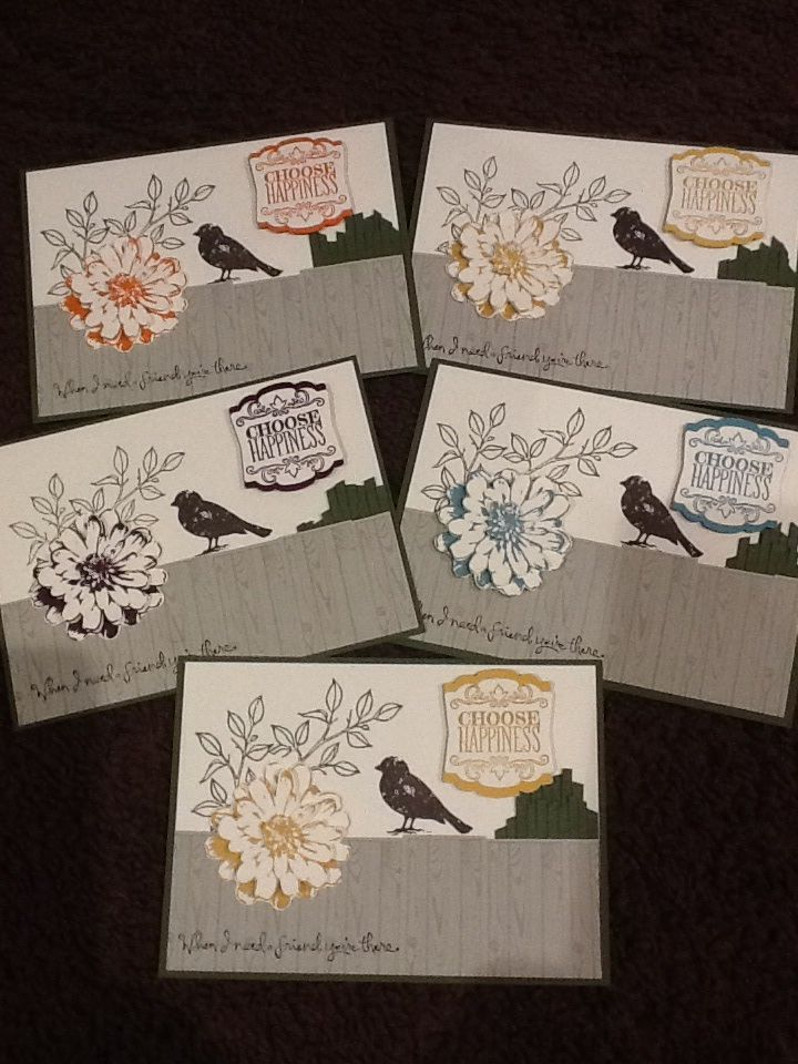 Stampin ' Up! Choose Happiness stamp set. My team training swaps. Maria Banting. Http://craftwithmaria.blogspot.com