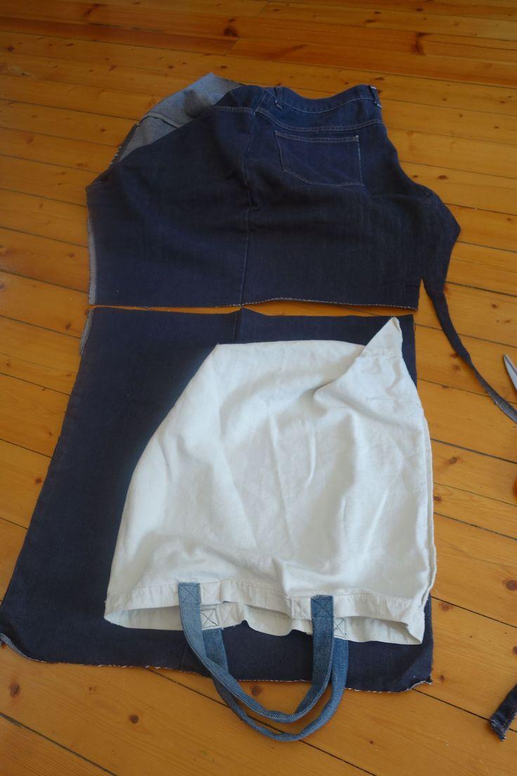Sy tygpåse av ett par jeans.