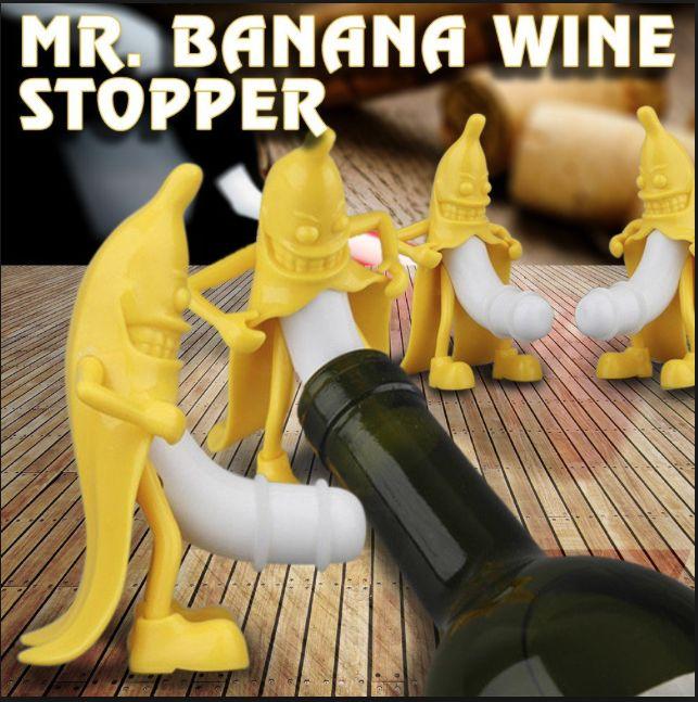 Net binnen! Mr Banana Wijn Stopper 😂