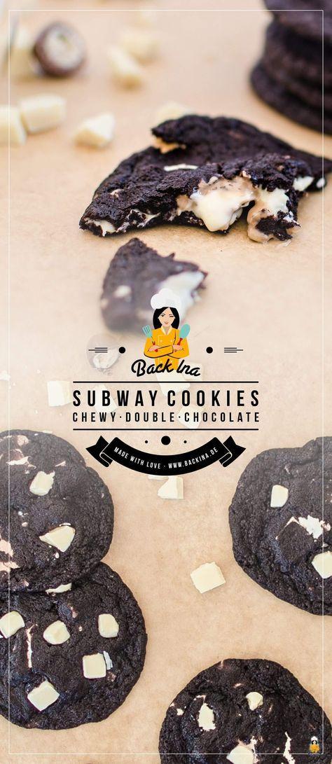 Doppelte Schokoladenplätzchen mit dunklem Teig und weißer Schokolade   – Rezepte