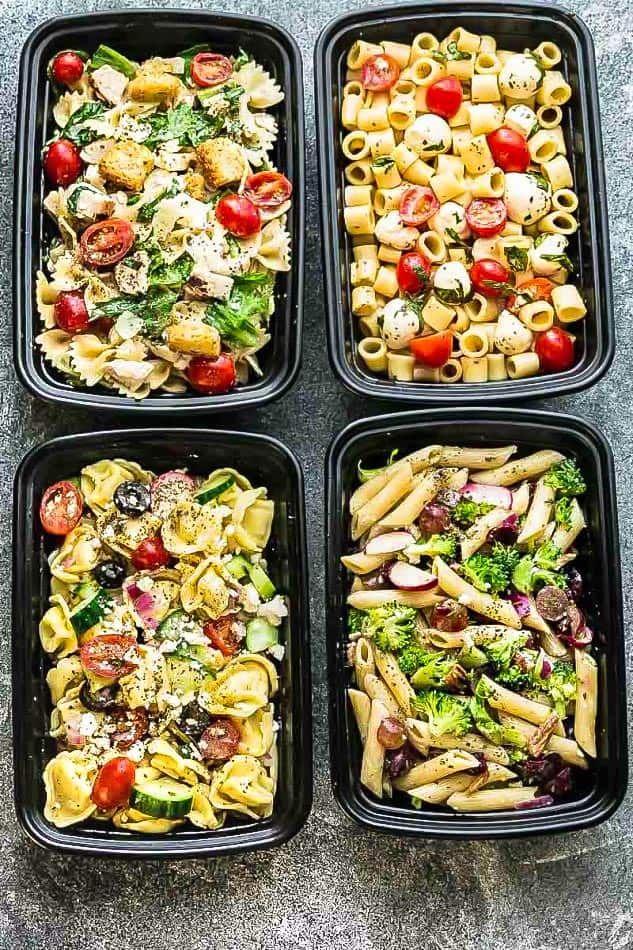 Dies sind die vier beliebtesten Nudelsalate, die jeder sucht. Caprese, C …   – Lunch box