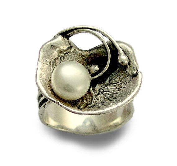 Pearl ring sterling silver ring Engagement ring organic