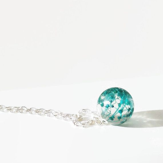 Flower Sphere Necklace turquoise - Resin Jewelry Clear Orb Necklace - Preserved Flower Nature Inspired Jewelry - blue Necklace - terrarium