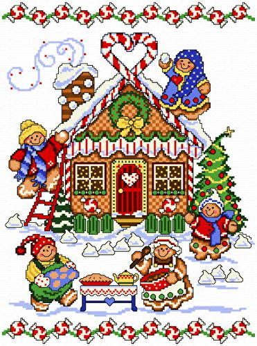 Gingerbread House cross stitch pattern.