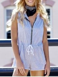 Casual Hooded Sleeveless Waist Drawstring Zippered Women's Romper - GRAY