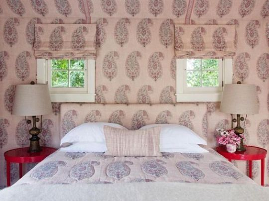 Room of the Day: Peter Dunham fabric Isfahan-everything guest house by Kristen Panitch Interiors 7.20.2017