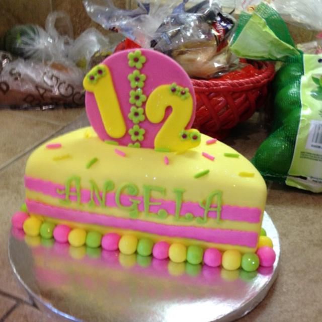 Little Girl S 6 Month Half A Birthday Cake Lemon With