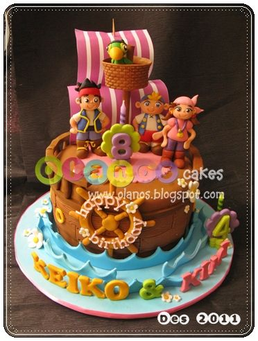 Pirate ship cake...using round cake.