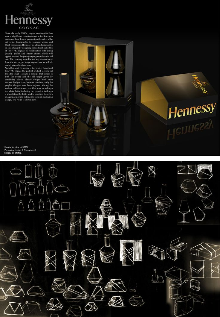 Hennesy gift packaging design concept featuring one bottle and two glasses. 2012