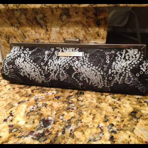 Sequined clutch Adolfo Dominguez Black and silver sequin clutch Bags Clutches & Wristlets