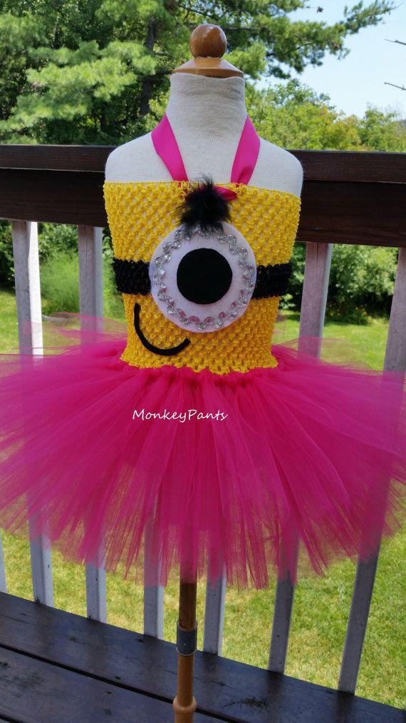 Minion Tutu Dress - Girls Minion Costume - Baby Minion Birthday Party Dress - Hot Pink and yellow