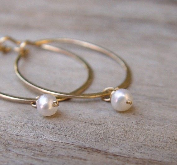 Small Gold Hoops Birthstone Earrings Small Gold by ravitschwartz, $34.00
