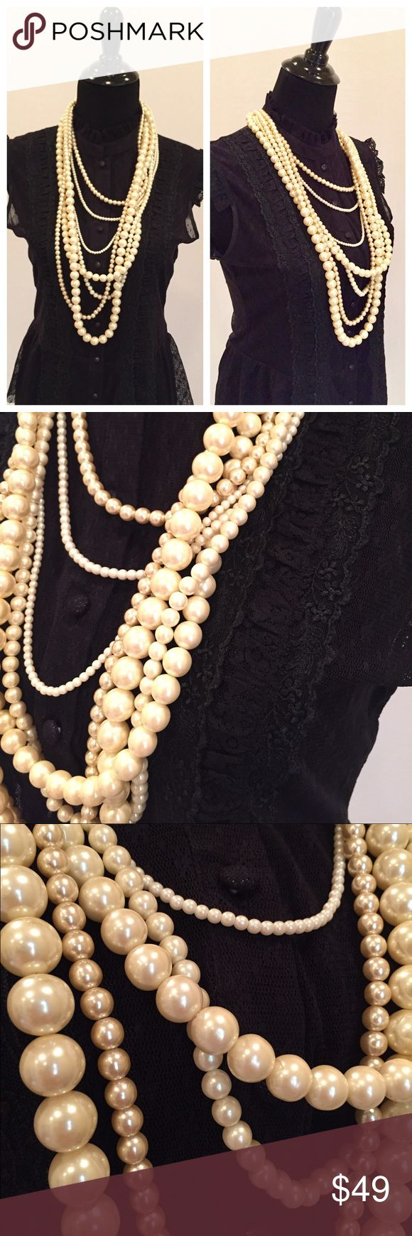 Banana Republic Multi Strand Faux Pearl Necklace Multi layered multi strand faux pearl necklace by Banana Republic. Worn only once. Banana Republic Jewelry Necklaces