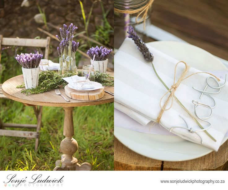 Greek garden wedding table setup.  An old rustic wooden table was used to go with our garden setup.  Rustic silver wire place names and lavender wedding decor.