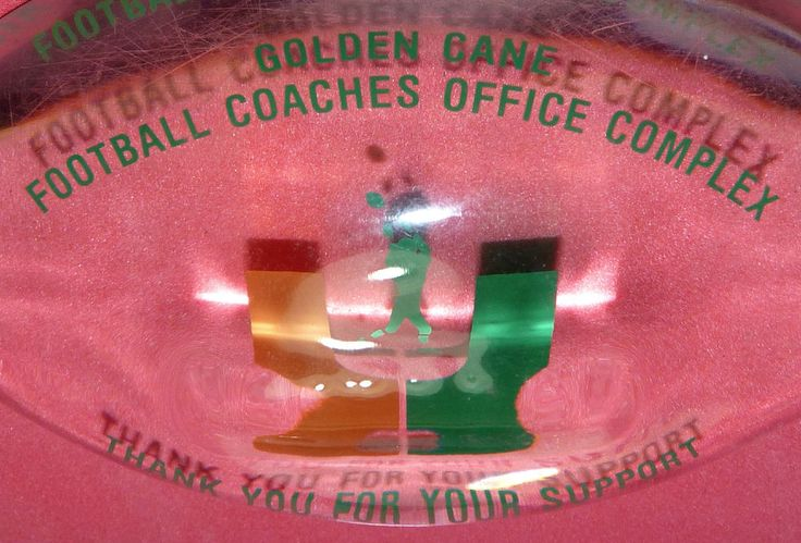 University of Miami Hurricanes Canes UM Football Coach's Office Lucite Football