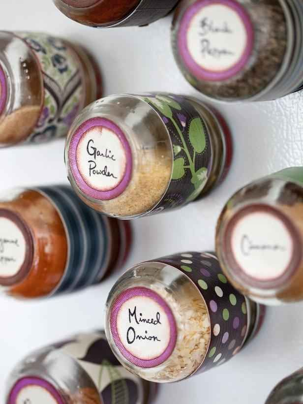 Turn empty baby food jars into magnetic spice containers.