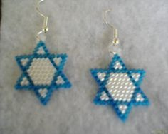 Jewish Stitchery | Brick Stitch STAR OF DAVID Earrings Delica seed by Beadedforu, $10.00