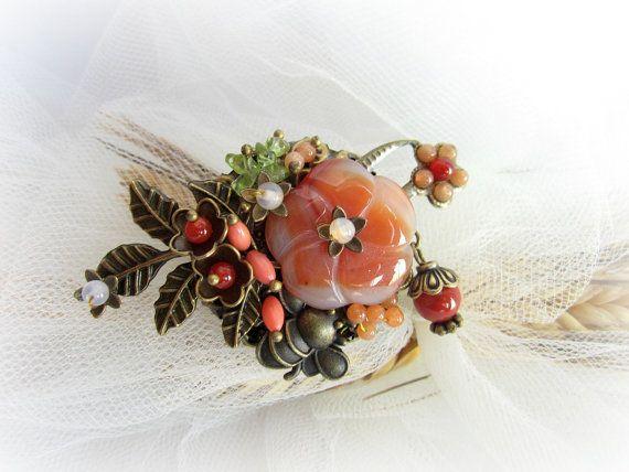 Gemstones brooch floral brooch woodland by MalinaCapricciosa