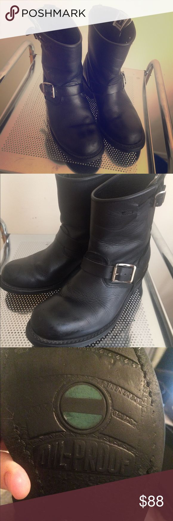 """FRYE black leather mid calf biker boots! Frye Engineer /Veronica Shortie black leather biker boots. Size 6.5R. In excellent condition!! Really comfortable and such a great boot. Original box. (Box is taped) Great deal! - Made in the USA. Sourced from domestic and imported products. - Unlined - 7"""" shaft height - 12 1/2"""" shaft circumference - 1 1/2"""" heel height - Stacked leather heel Frye Shoes Combat & Moto Boots"""