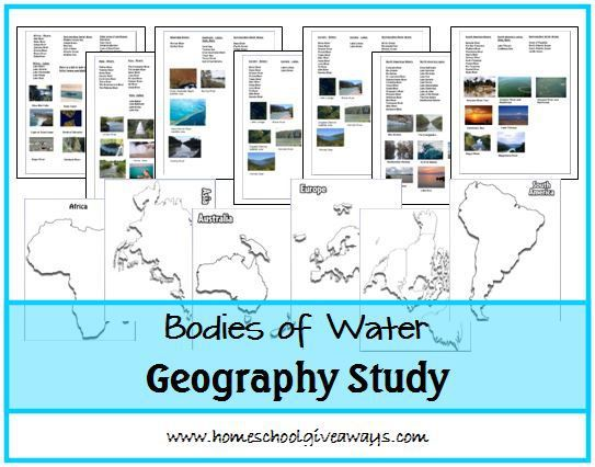 Bodies Of Water Geography Study Includes All 7 Continent Maps For Labeling Coloring Major Waterway Locations Along With Some Clip Art For Pasting