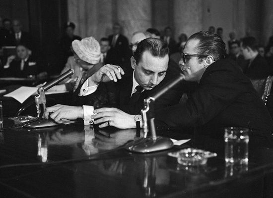 """""""I respectfully decline to answer because I honestly believe my answer might tend to incriminate me."""" Joe Gallo testifying at the McClellan Committee in 1958.  (550×400)"""