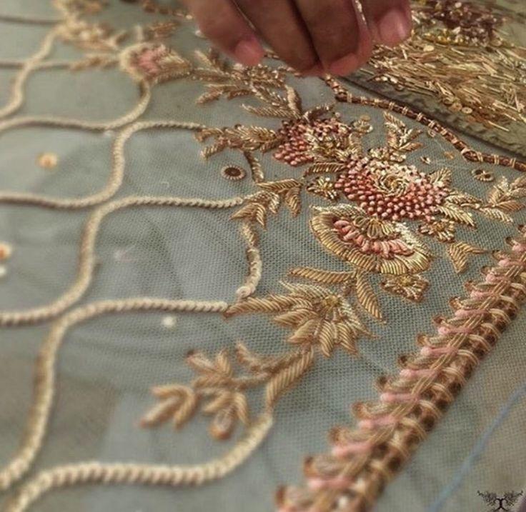 Indian hand work # zardozi # thread work#