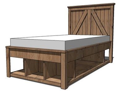 I want to make this!  DIY Furniture Plan from Ana-White.com  A full storage base for the Brookstone Collection. Features three cubbies at the base and full under bed storage, and a smaller cubby space at th back. For extra support, add a third center divider.