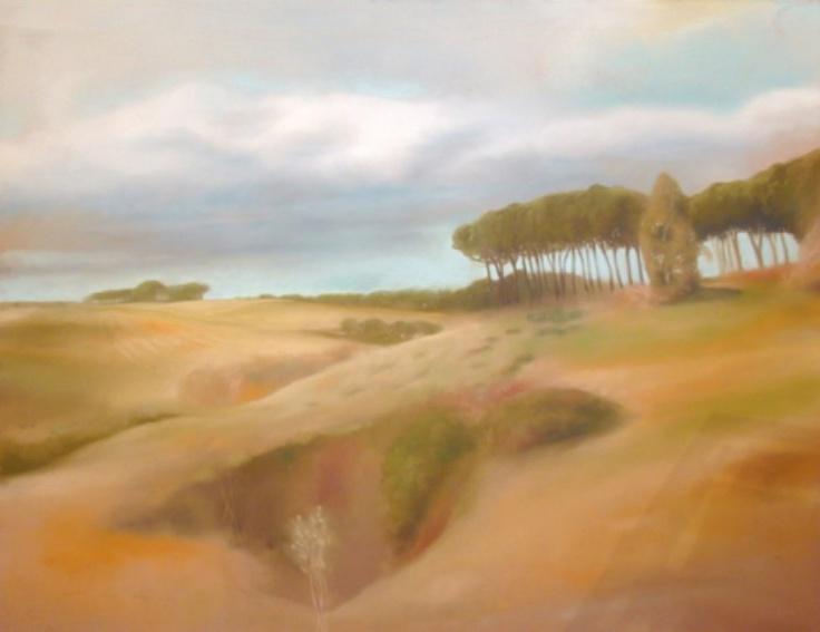 "Francesco Parisi, ""Grottarossa"", pastel on wood, 2006, cm 100x130"