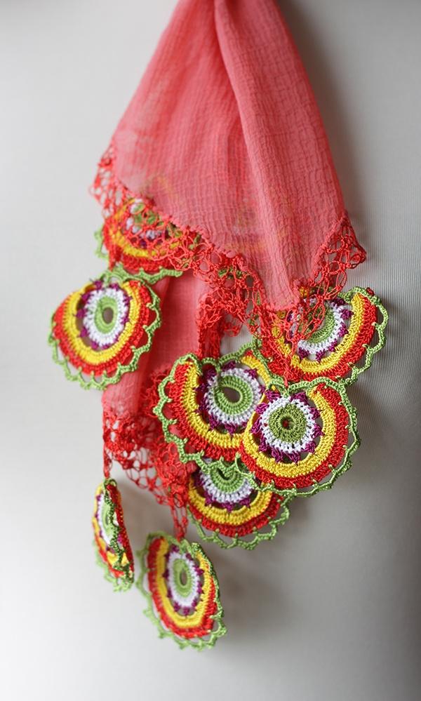 Long Scarf with Turkish Crochet oya, Women Scarf