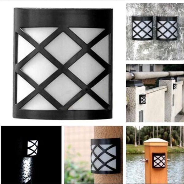 6 LED retro de la pared resistente al agua solar luces con lámpara de jardín al aire libre cerca de la yarda
