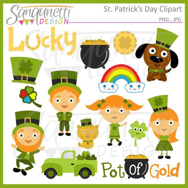 St. Patrick's Day Clipart Leprechaun, Pot of Gold, Shamrock, Commercial License Included by SanqunettiDesigns on Etsy https://www.etsy.com/listing/222144707/st-patricks-day-clipart-leprechaun-pot