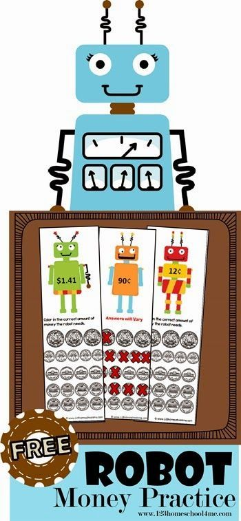 FREE Robot Money Practice - This is such a fun, creative way for kids to practice adding money. This isa fun money games for Kindergarten, 1st grade, 2nd grade, and 3rd grade kids. (homeschool, math, math activities, math games, free printable)