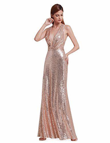 39a54d78798c Ever-Pretty Robe de Soirée Paillette Robe de Cocktail Grand V Sexy Maxi 44  Or Rose