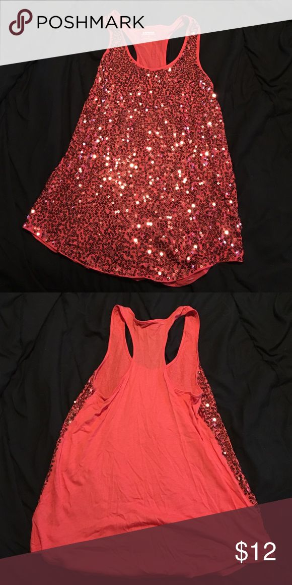 Red sequin Express tank Red tank top with red sequins Express Tops Tank Tops