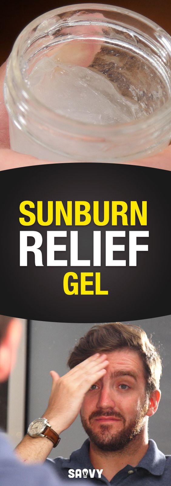 Check out this all-natural homemade sunburn relief gel! It's great for when you've spent too much time in the sun (and are feeling a little too crispy!). Aloe Vera is great for calming sunburns, lavender essential oil can reduce the amount of peeling and itching and peppermint oil has an instant cooling effect that helps soothe the pain. Give it a go and let us know how it is!