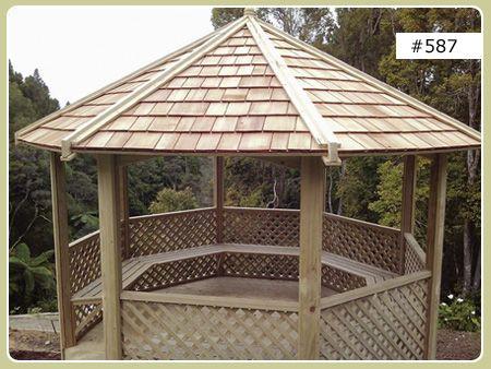 3 5m Octagonal Gazebo With Cedar Shingle Roof Surround