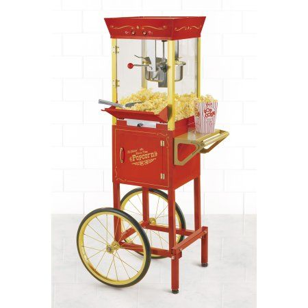 """Nostalgia Electrics 53"""" Tall Vintage Collection 6-Ounce Kettle Commercial Popcorn Cart, CCP510"""