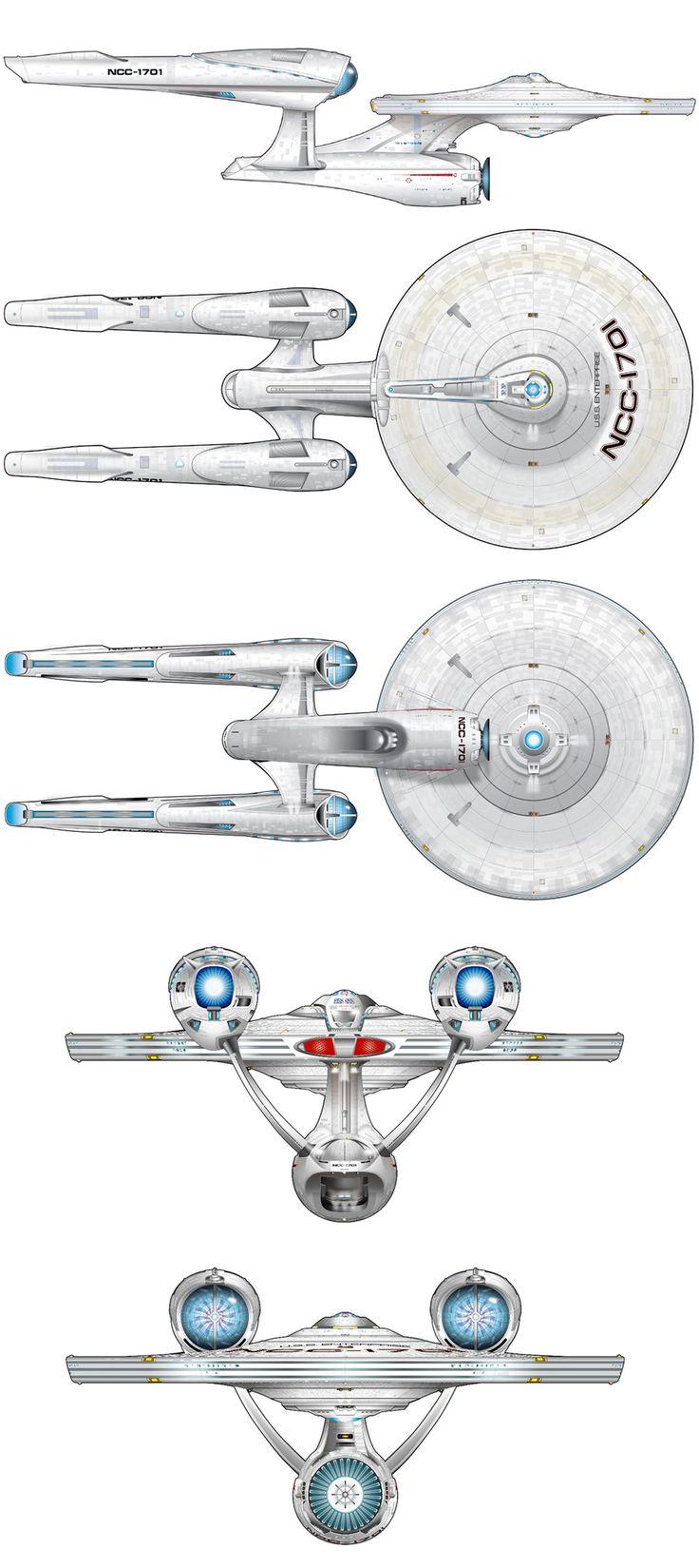 Schematic views of J.J. Abrams' U.S.S. Enterprise NCC-1701
