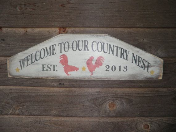 Primitive country decor Welcome sign by mockingbirdprimitive, $33.00