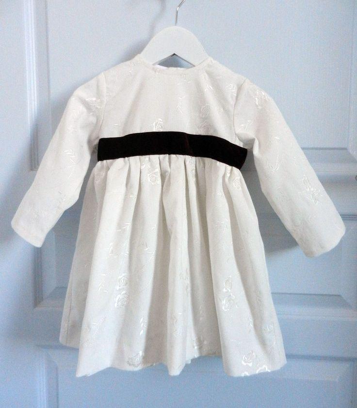 Duchesse or ange robe velours brode blanche ruban grenat bebe 2 ans dress white velvet white plum burgundy baby