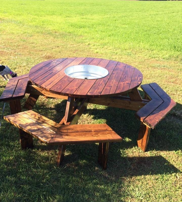 60 Round Trough Table Patio Dining Table Drink Holding Table Cooler Table Pine Main Pallet Outdoor Pallet Furniture Outdoor Cool Tables 60 round outdoor dining table