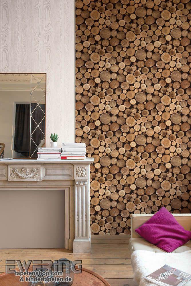 Splendour 08 - Fans von Holzoptik tapezieren sich diese Mustertapeten mit Baumstamm und Holz-Optik im Wohnzimmer.