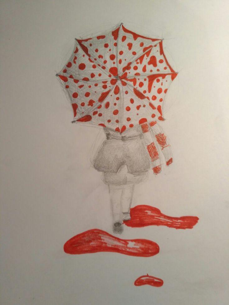 Girl in a red rain