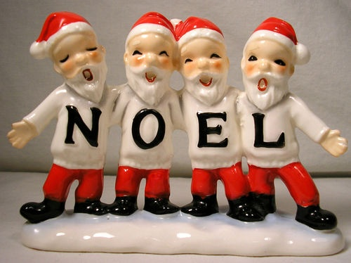 Vintage Christmas figurine with singing Santas spelling out NOEL with their sweaters, by Shafford, Japan.