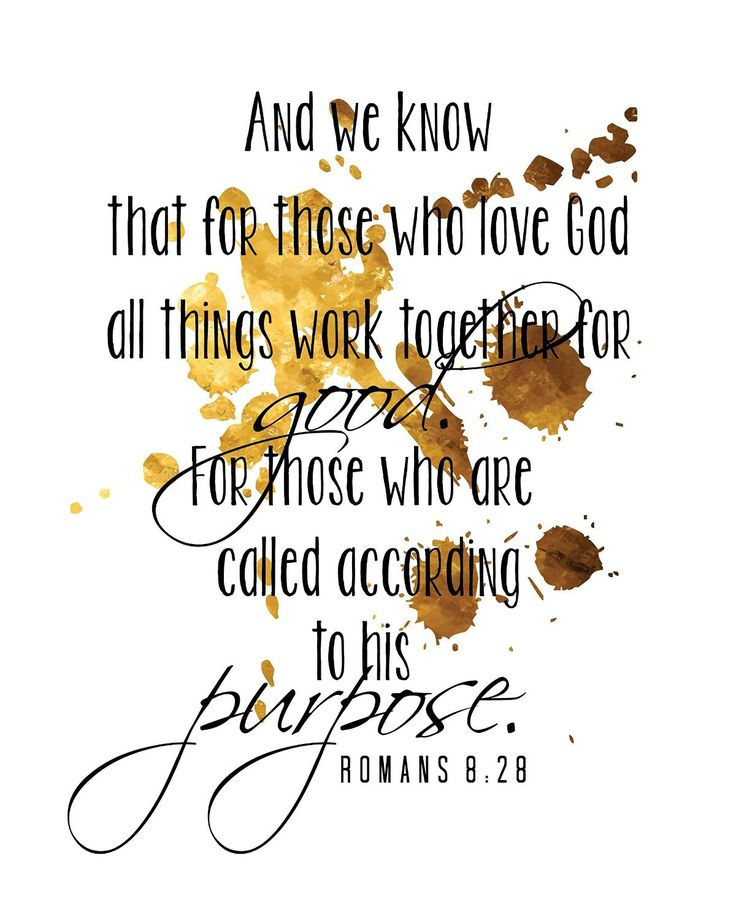 Bible Quotes Inspirational Poster Romans 8:28 Motivational Typography Print Home Decor