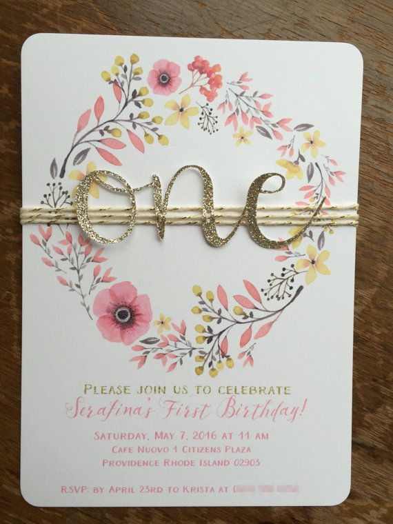 Beautiful floral wreath with gold glitter one on natural/gold twine. Loving this sweet invitation style.  A7 - 5 x 7  ★ Paper Choices:  Standard - 80lb medium weight card stock  Luxe - 111lb heavy weight card stock  ★ Envelope Choices:  Pink  White  Kraft Brown  The gold glitter wording and accents are printed glitter and only give the illusion of glitter. The glitter ONE is real glitter and is very shiny!  Please note The gold I use is not a bright yellowy gold, the paper color is calle...