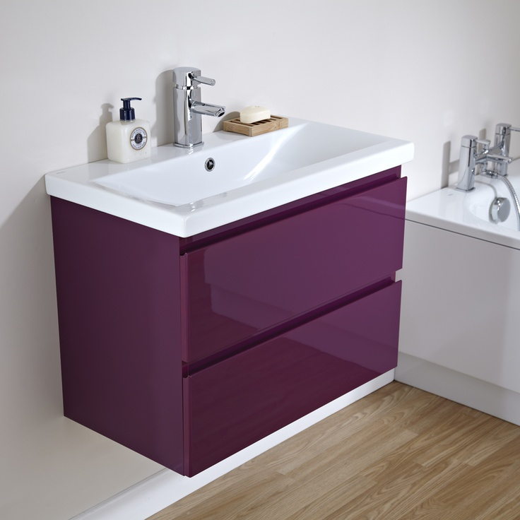 Purple Bathroom Pictures: Milano 700mm Gloss Plum 2 Drawer Vanity Unit